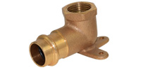 Bronze pressfitting, wallplate elbow
