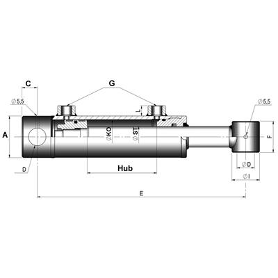 20t Hydraulikzylinder Hub 150mm Hydraulik Zylinder max Höhe 407mm 20to 00060