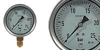 Pressure gauge Ø 100 mm, stainless steel